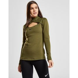 Opiniones Nike Training Pro Warm Long Sleeve Wrap Neck Top, Khaki/Black